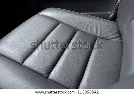 Leather car seat close up