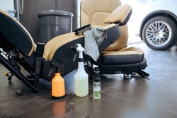 Leather car seats and tools for dry cleaning