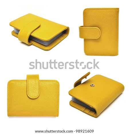 leather cards holder set on a white background