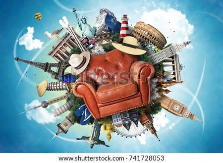 Leather chair on the background of the attractions - Shutterstock ID 741728053