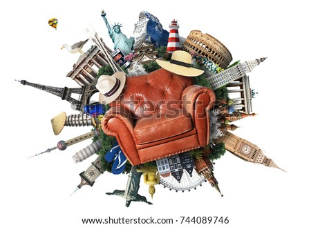 Leather chair on the background of the attractions - Shutterstock ID 744089746
