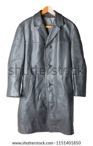 Leather coat. Old vintage gray leather coat on wooden hanger isolated on white. Style of 60's. #1151401850
