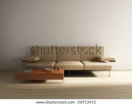 Leather Couch with table to face a blank white wall - stock photo
