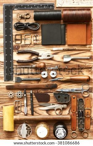 Leather crafting DIY tools flat lay still life  #381086686