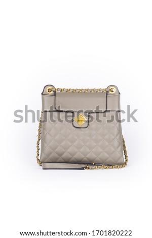 leather elegant women bag. Fashionable female handbag, isolated ストックフォト ©