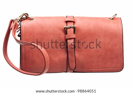 Leather female clutch isolated over white