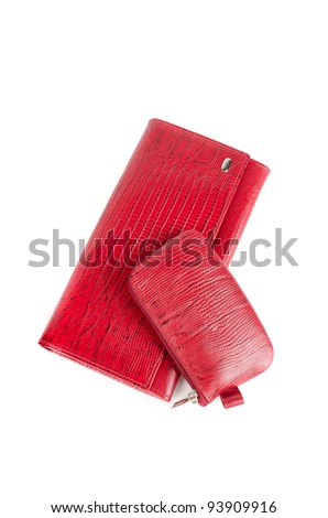 Leather female red accessories on a white