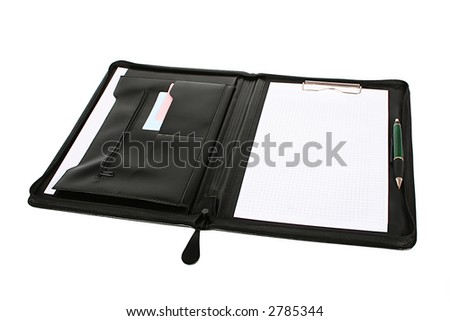 Leather folder for papers on a white background