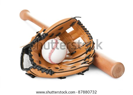 Leather glove with baseball and bat isolated over white background