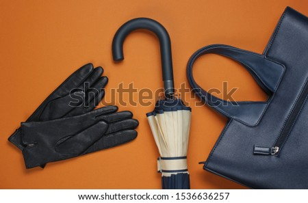 Leather gloves, bag and umbrella on brown background. Top view