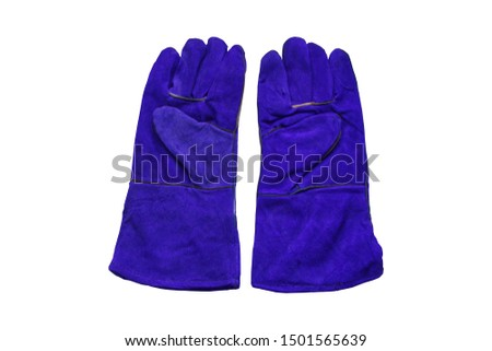 Leather gloves for welding and isolated on white background