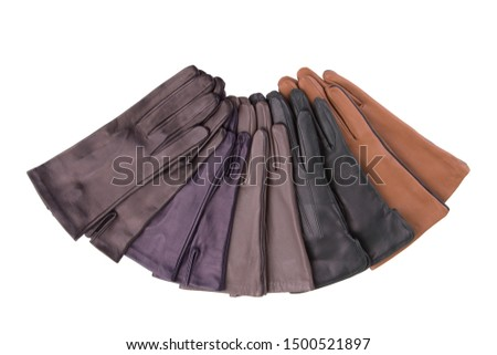 Leather gloves isolate on a white background. Colored leather gloves.