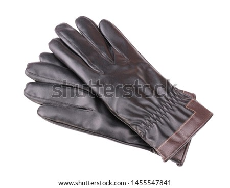 Leather Gloves Isolated at dry day