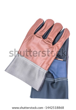 leather gloves on white background