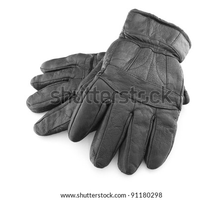leather hand gloves isolated