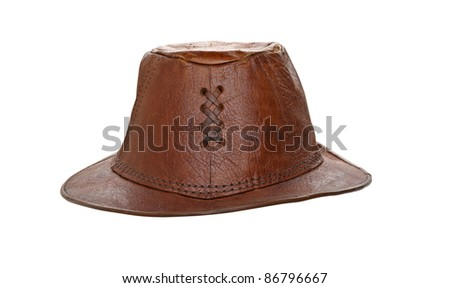 Leather hat isolated on white