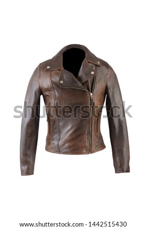 leather jacket medium brown color photo #1442515430