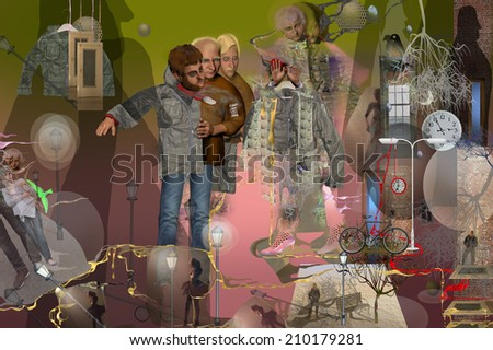 leather jacket metamorphose mystery, pink, green, changing lives over time, influence, infinity, three men changing, old woman selling a jacket