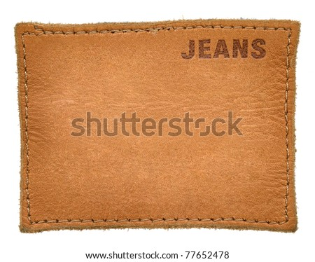 leather jeans label isolated on white background