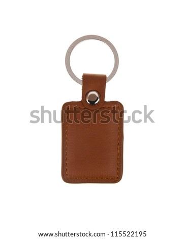 Leather key chain isolated on white background