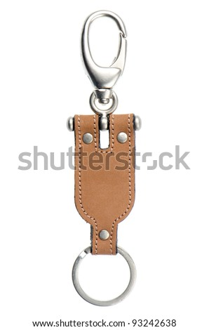 Leather key chain isolated on white background.