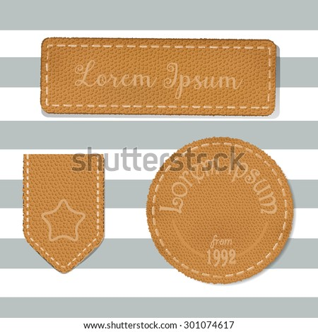 Leather labels collection. Set of leather labels made in vector.