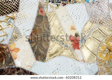 leather patchwork Fabric Background wit different colors and textures