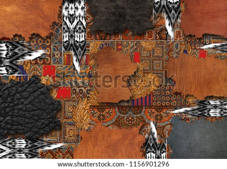 Leather pattern with paisley and ethnic pattern