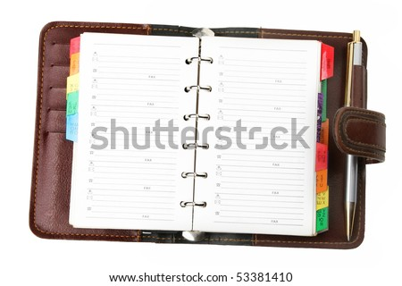 leather personal organizer  on white background