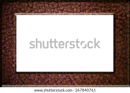 Leather picture frame isolated on white background,isolated on white background, with clipping path