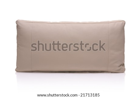 Leather pillow isolated against white background