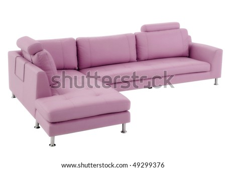 leather pink modern couch