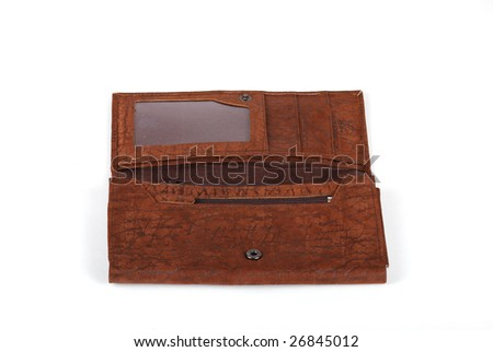 Leather purse, big long brown for storage of money and credit cards.