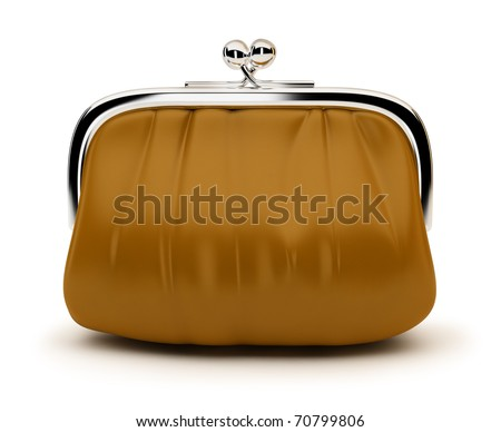 Leather purse with the chromeplated rim. 3d image. Isolated white background.