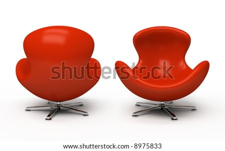 Leather red armchair (front and back view) isolated on white background