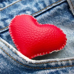 leather red heart in jeans pocket