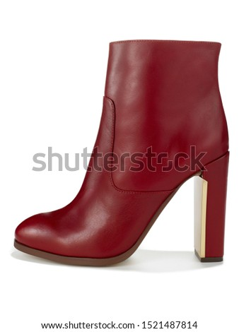 LEATHER RED SHORT HIGH HEEL BOOT  #1521487814