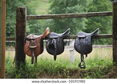 Leather saddles ready to put on the horseback