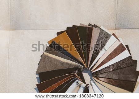 leather samples close-up. Can be used as background. Industry background.  Stock fotó ©
