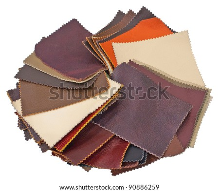 Leather samples. Isolated on  white background.  No shadows on the background.
