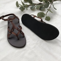 Leather sandal,women leather shoes ethnic boho beach summer style of shoes, handcraft leather work simple minimal brown flat shoes, slip on sandals