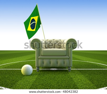 Leather seat and Brazilian flag for soccer cheer
