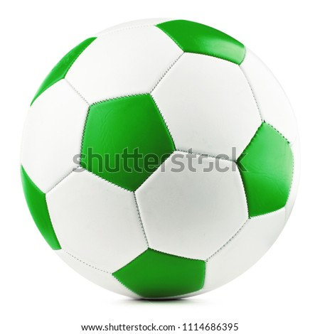 Leather soccer ball isolated on white background.
