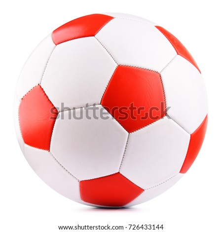 Leather soccer ball isolated on white background. #726433144