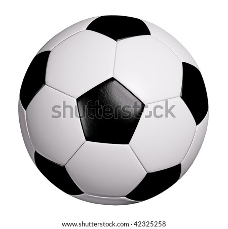 Leather soccer ball isolated on white with clipping path - stock photo