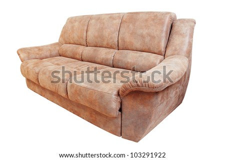 leather sofa brown color on a white background