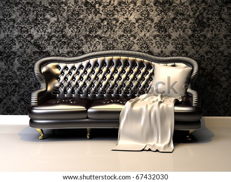 Leather sofa in interior with decoration wallpaper