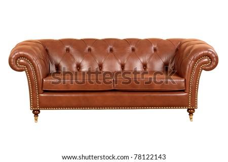 Leather sofa (isolated)