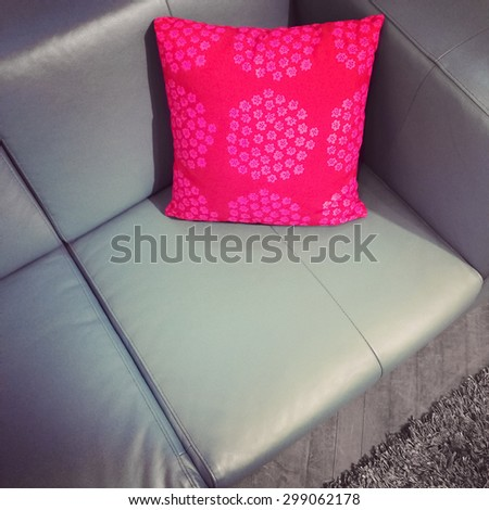 Leather sofa with bright red cushion. Modern furniture.