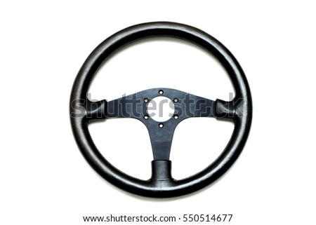 Leather steering wheel isolated on white background